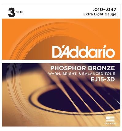 EJ15 - PHOSPHOR BRONZE EXTRA LIGHT (PACK 3 JUEGOS)
